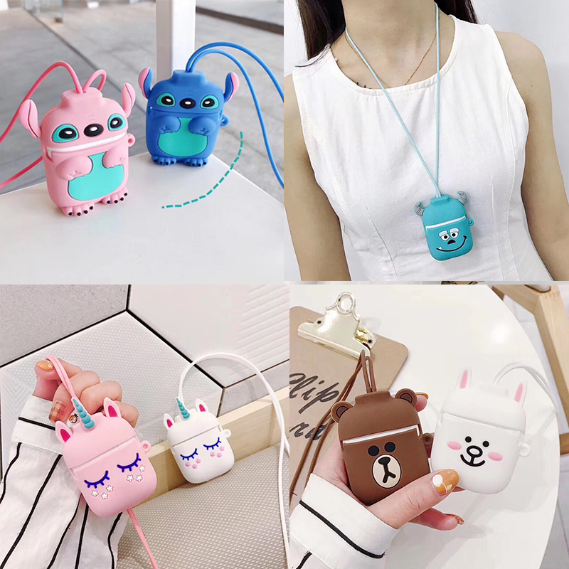 Cartoon Case For Airpods 2 I12 Tws I10  I11 I9s I60 For AirPods Case Cute For AirPods I30 Earphone Anti-lost Rope Silicon Cover