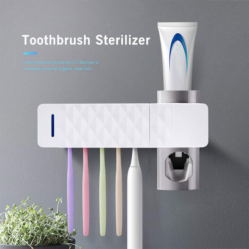 Toothpaste Toothbrush Holder UV Toothbrush Sterilizer Holder Wall Mount Automatic Toothpaste Dispenser With Toothbrush Holder