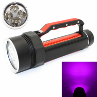 Waterproof Scuba 4400Lm Diving Flashlight 4 x UV Ultraviolet Light LED Lantern Torch Underwater 100M 395nm Hunting Light