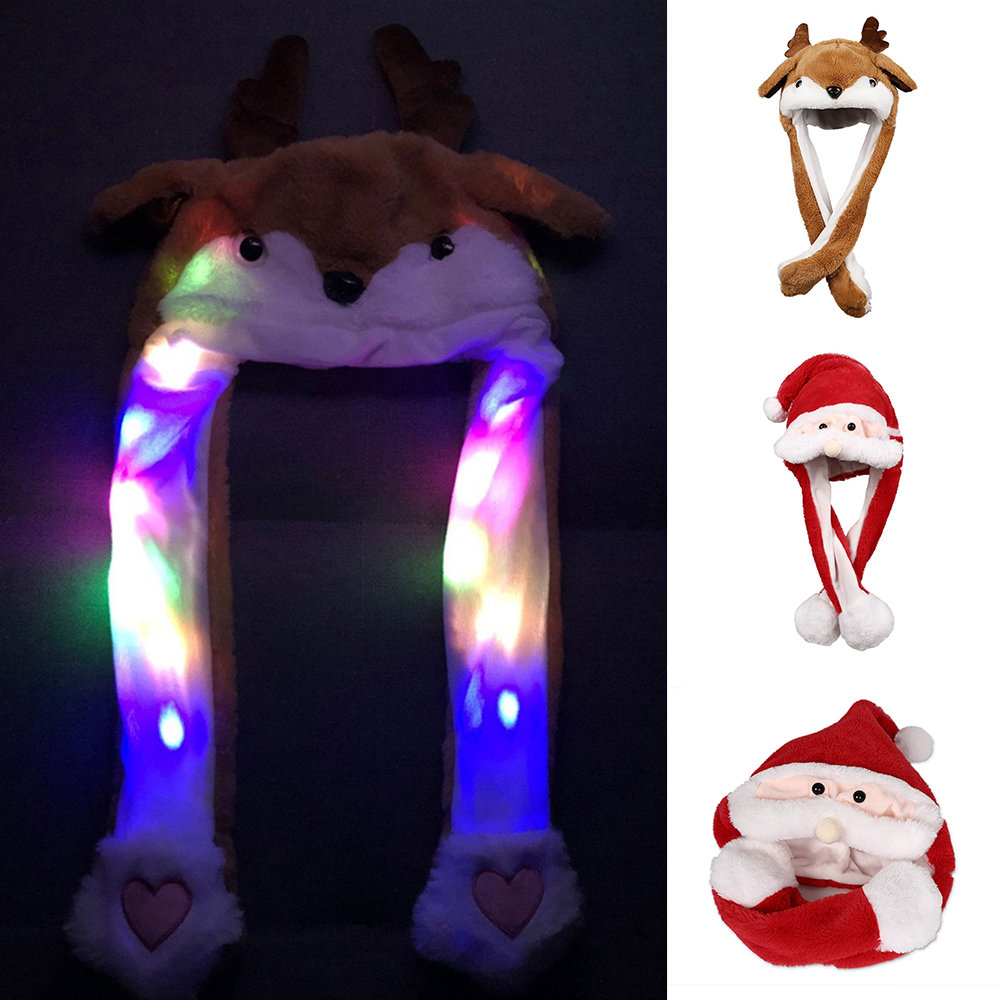 Chirstmas Elk Luminous Ear Moving Hat Xmas Party Toys Hair Hoop Santa Claus Hat Moves Ears Hat Cap Plush Toy For Children Gifts