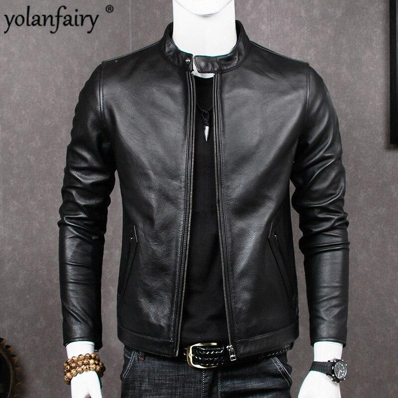 2020 Genuine Leather Jacket Men Sheepskin Coat For Men Plus Size Real Cow Leather Jackets Chaqueta Cuero Hombre MT681 KJ2283