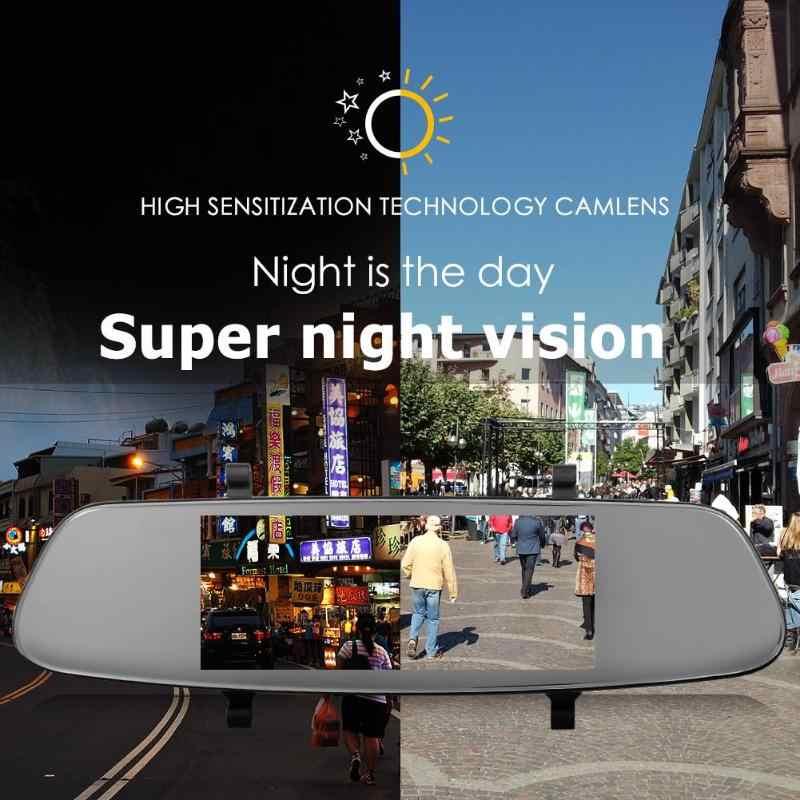 7 дюймов Видеорегистраторы для автомобилей Камера зеркало заднего вида Двойной объектив g-сенсор камеры dvr в автомобиль, Зеркало заднего вида Full HD 1080p ночное видение WDR Авто Регистраторы видео