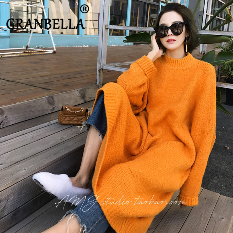 Women Long Sleeve Turtle-neck Loose Knitted A-line Spring Dress Fashion Red Orange Blue Knitewear  Dresses