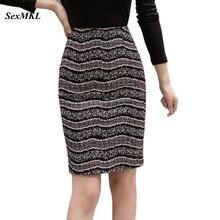 Print Skirts Office Sexy High-Waist Korean Plus-Size Womens Fashion Pencil Striped Faldas