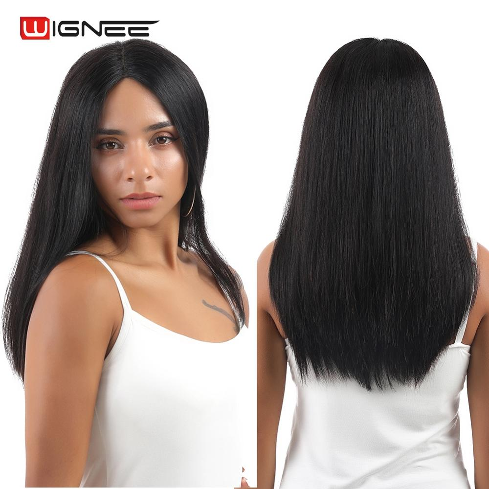 Wignee Hand Tied Remy Brazilian Wig Long Straight Hair Human Wigs For Black/White Women Middle Part Glueless Lace Human Hair Wig