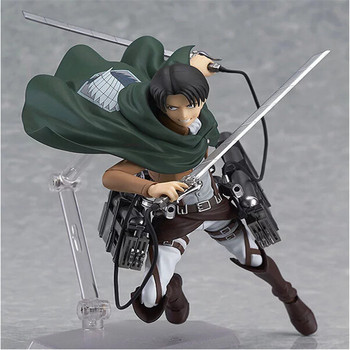 Anime Attack on Titan 213 Captain Lewell Figma Action PVC Figurine Captain Levi Figures Collectible Model Toy  Doll Figure 15cm dota 2 variant action figure figma sp 070 windranger variable doll pvc action figure collectible model toy 14cm kt3545