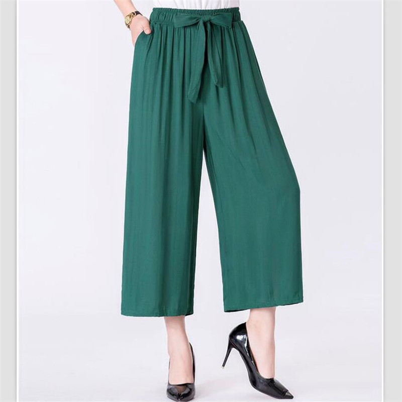 Women Summer Wide Leg Pants Solid Thin High Elastic Waist Trousers Loose Elegant Knitted Ankle-Length Pants Plus Size M-7XL