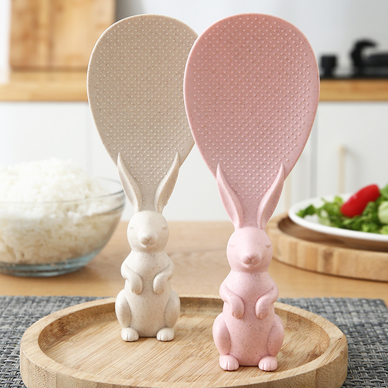 Wheat Straw Rabbit Spoon Can Stand Up Rabbit Rice Shovel Rice Cooker Rice Spoon Creative Non-stick Rice Cartoon Rice Spoon