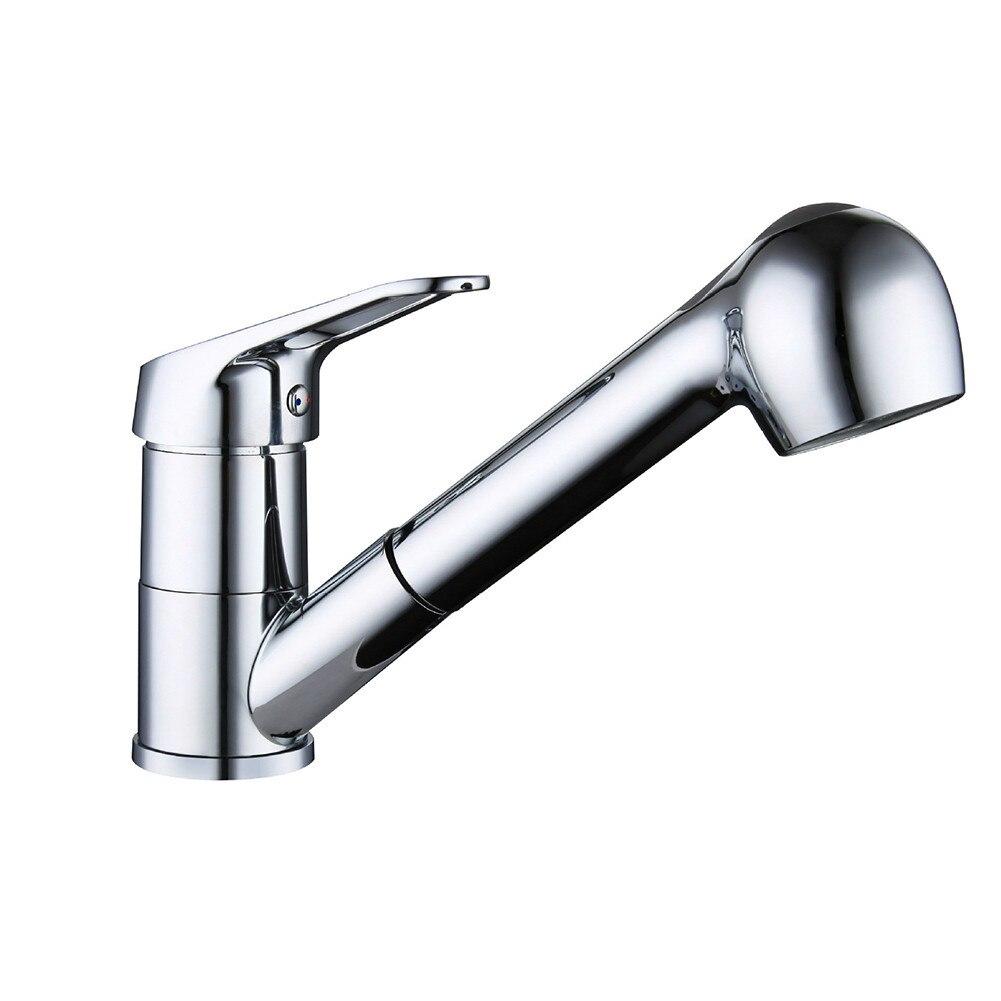 Tirez le robinet de cuisine d'évier de pulvérisation robinet de mélangeur en alliage de Zinc bec pivotant poignée unique grifo cocina mélangeur de cuisine