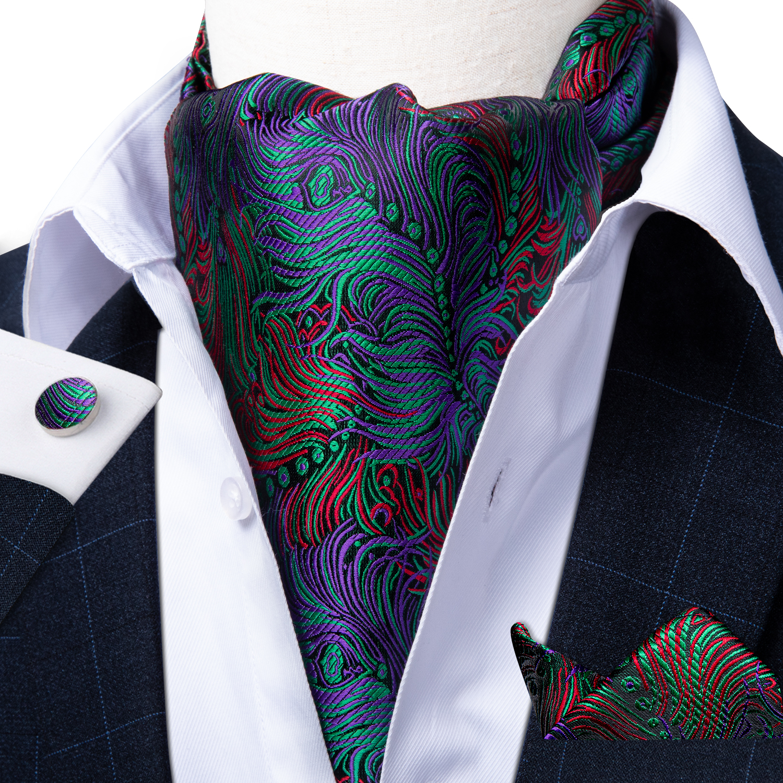 Teal Green Cravat Ascot Neck-Tie Scrunch Men Vintage Wedding Formal Self British Style Asscot Floral Necktie Hanky Set DiBanGu