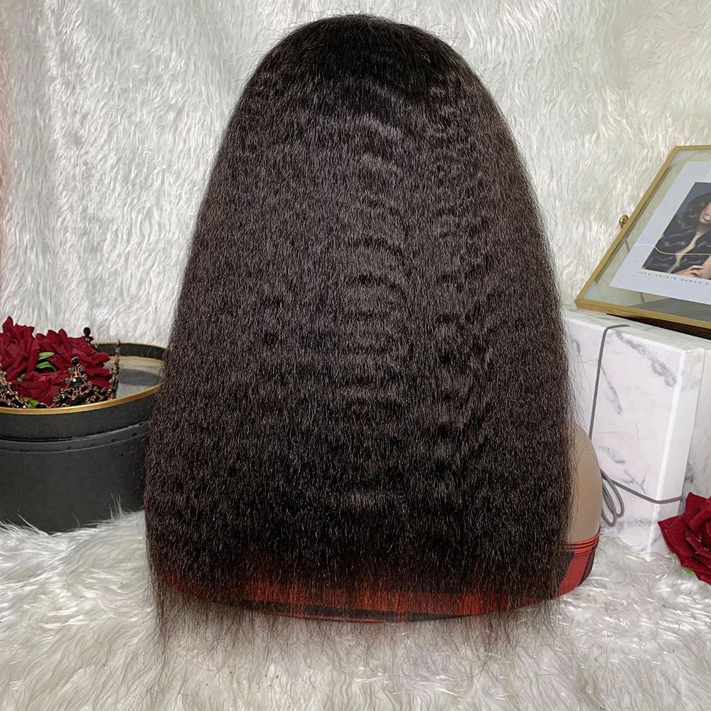Afro kinky reta peruca frontal do laço