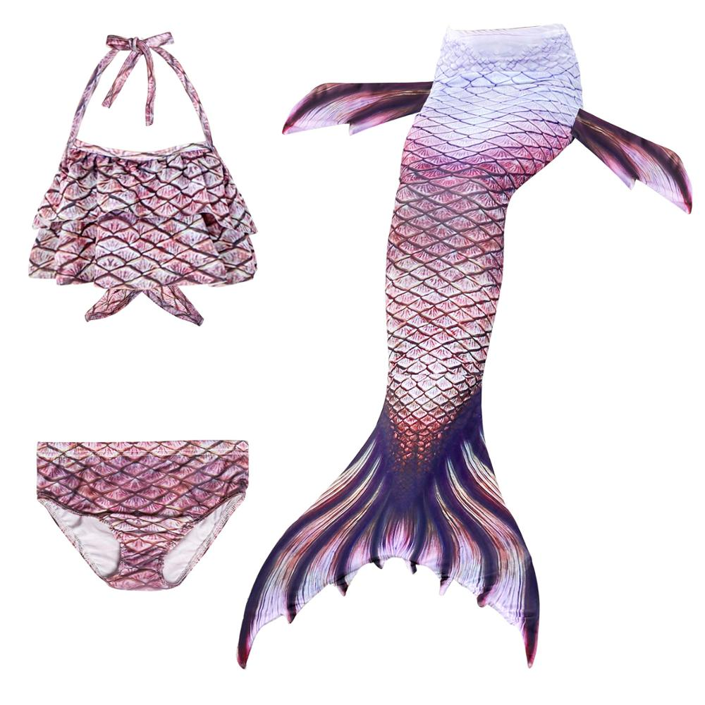 3Pcs Girls Swimsuit Mermaid Tails For Swimming Bikini Set Swimmable Mermaid Costume For Kids Children Swimwear (No Monofin)