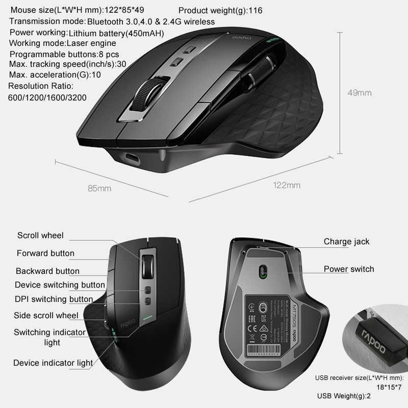 Souris sans fil multimode Rechargeable Rapoo MT750S interrupteur facile entre Bluetooth et 2.4G jusqu'à 4 appareils pour PC et Mac
