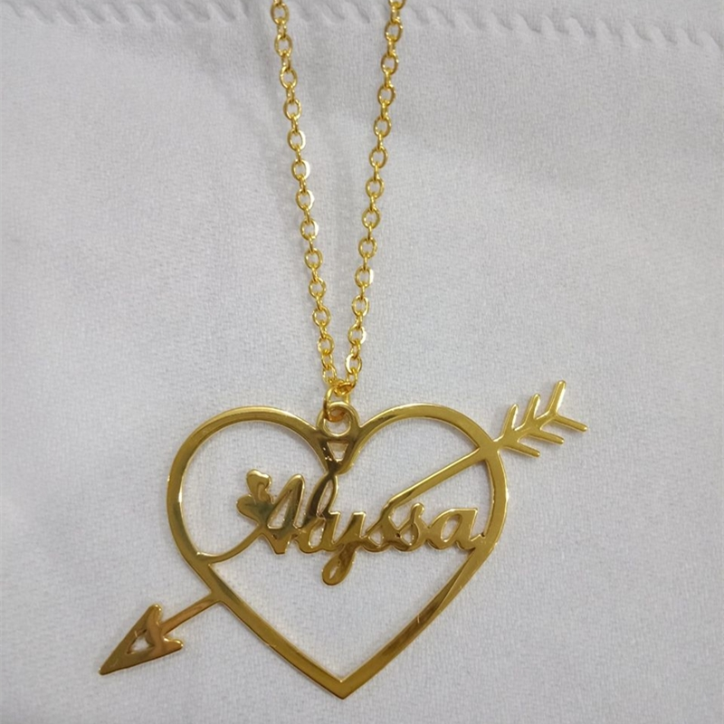 Cupid's Arrow Heart Necklaces For Women Girl Custom Name Necklaces Pendants Personalized Handmade Gifts Wedding Jewelry