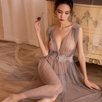 Summer Hot Sexy Women Night Club Evening Slit Dress See Through Mesh Sheer Tulle Long Party Dresses Babydoll Clubwear - discount item  40% OFF Exotic Apparel