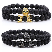 2Pcs/Set Natural Stone Beaded Man Bracelets Popular Pave CZ Small Crown and Skeleton Copper Bracelet Classic Matte Black Jewelry(China)