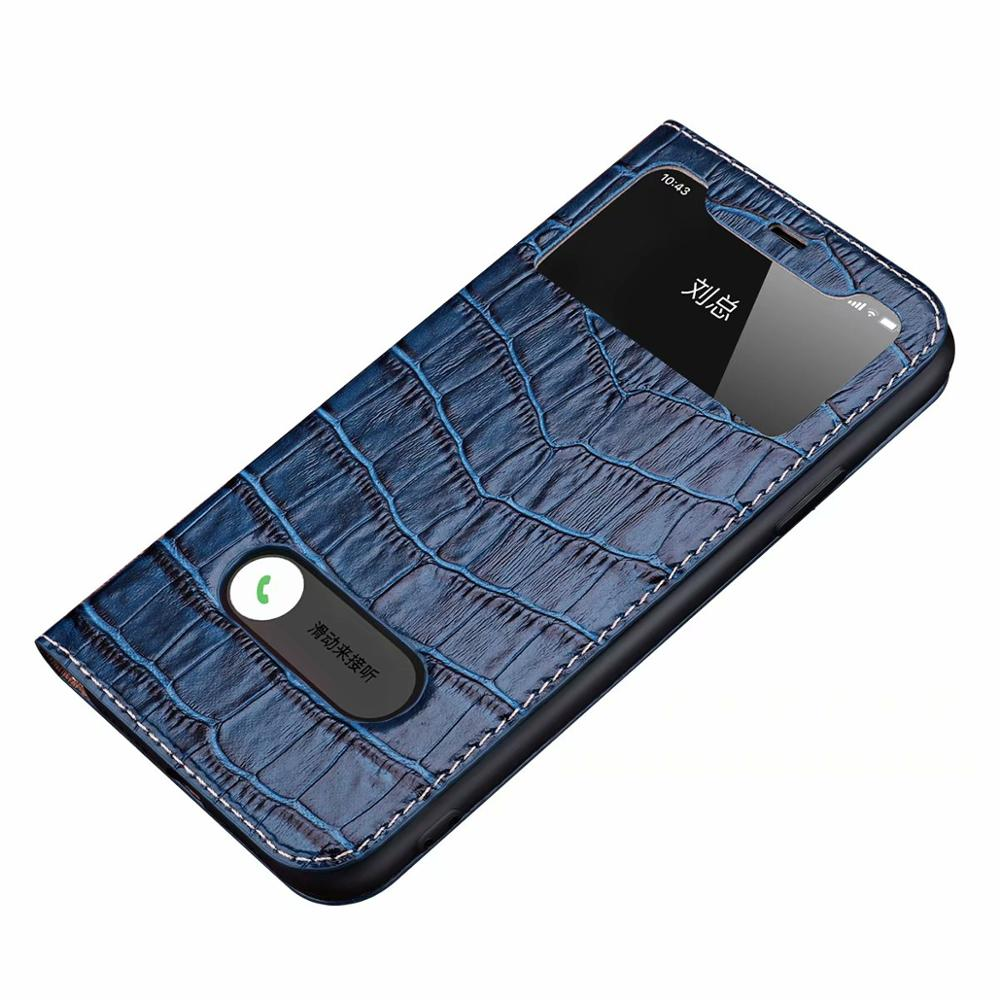 Real leather crocodile pattern Clear View Window Flip Cover Phone Case For iPhone 11 Pro MAX