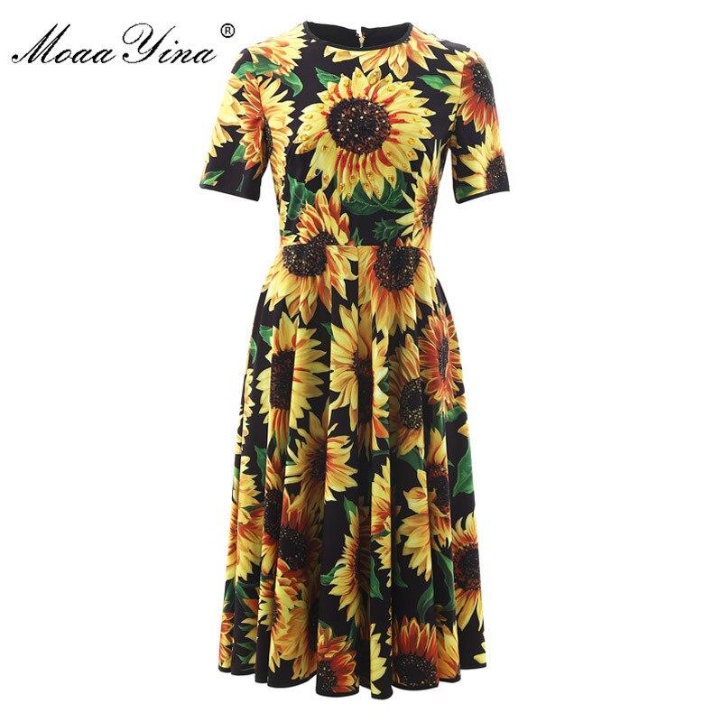 MoaaYina mode Designer robe de piste printemps été femmes robe à manches courtes diamant tournesol imprimer robes minces