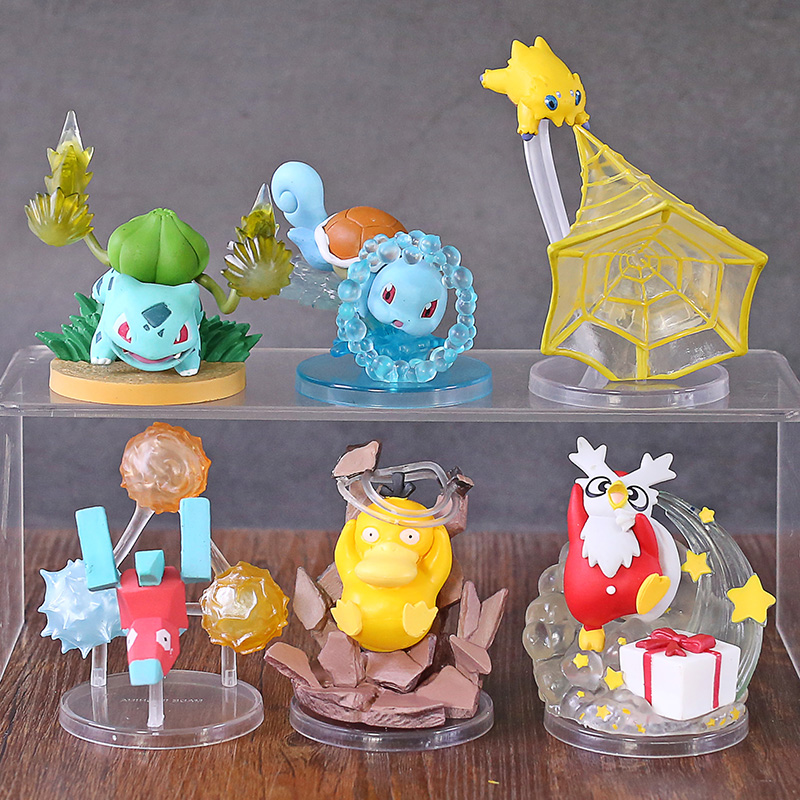 Anime Monsters Gallery Vol.4 Bulbasaur Squirtle Psyduck Porygon Delibird Joltik PVC Figures Toys Brinquedo 6pcs/set