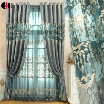 Europeo de diseño real Bordado delicado azul cortina cortinas para la sala de paneles de la ventana para dormitorio P365C