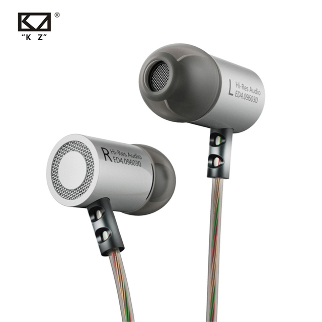KZ ED4 Metal Stereo Earphone Copper Forging Noise Isolating Hifi In ear Music Earbuds with Microphone for Mobile Phone MP3 MP4
