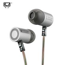 Kz ed4 fone de ouvido estéreo metálico, fones de ouvido intra auriculares, com microfone para telefone celular, isolamento de ruído mp3 mp4, mp3
