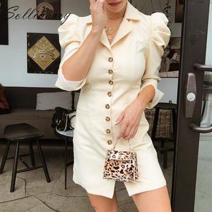 Image 2 - Sollinarry mode Mini robe femmes 2019 manches bouffantes boutons de fête robe Sexy dames col rond femme Vintage robe Vestidos