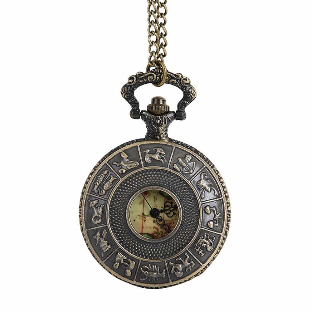 Vintage cep saati bronz paslanmaz çelik okyanusya harita karakteristik desen Vintage zincir basit Pointer Reloj caliente 03 *