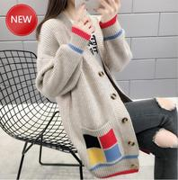 Sweater Knitted Cardigan Batwing Sleeve Plaid Casaco Femme Streetwear Outwear Harajuku Overcoat Cardigan Women Autumn Winter