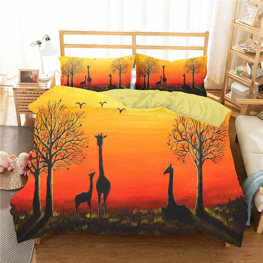 Double Bed Comforters Bedding Cover Giraffe In The Sunset Prited Home Textiles Bedding Coverlet King Single Size With Pillowcase