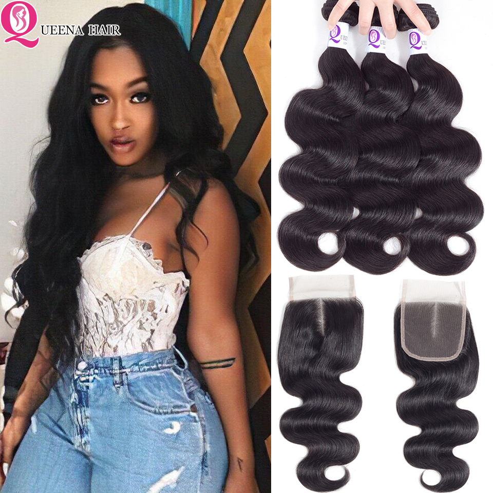 Brazilian Human Hair Wavy Weave Bundles With Closure Body Wave Bundles With Closure Pre Plucked With 3 Bundles With Closure Remy