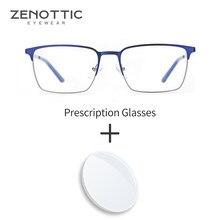 ZENOTTIC Square Prescription Glasses Optical Glasses Blue Light Myopia Progressive Eyeglasses Half Frame Men Women Eyeglasses