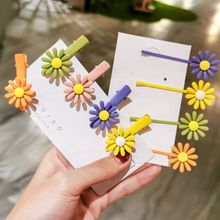 2Pcs/set Fashion Women Colorful Flower Hairpin Girl Sunflower Hair Clip Barrettes Candy Color Daisy Headwear Accessories Ne