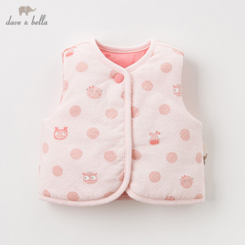 DBH11376 dave bella winter baby girls cute cartoon dots coat children fashion unisex sleeveless kids vest image