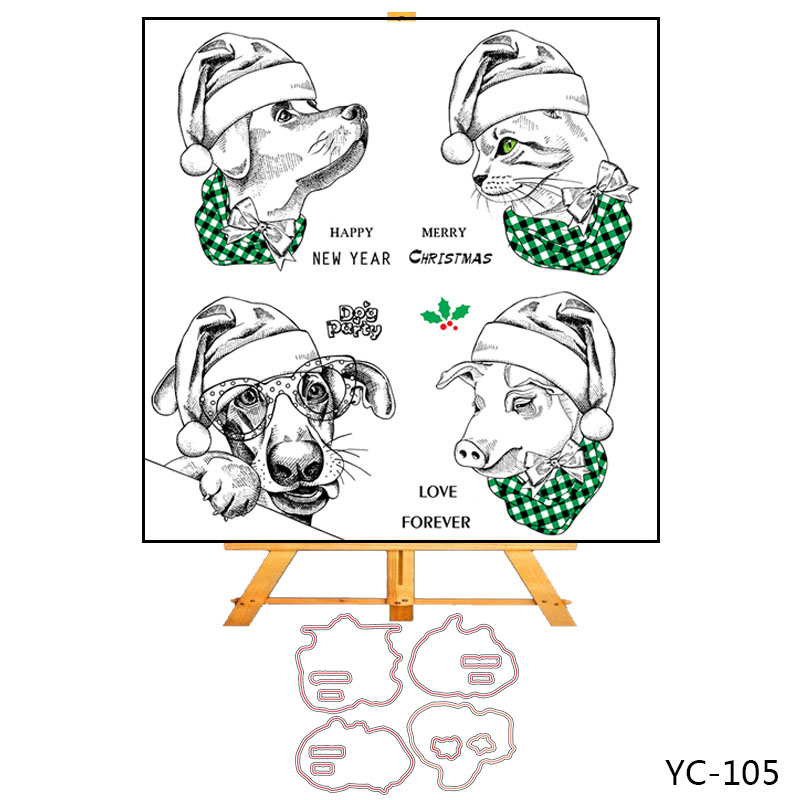 ZhuoAng Christmas puppy Clear Stamps Silicone Transparent Seals for DIY scrapbooking photo album Clear Stamps in Stamps from Home Garden