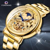 Forsining luksusowy biały złoty wyświetlacz ze stali nierdzewnej Moonphase modne niebieskie ręce wodoodporny męski zegarek mechaniczny męski zegar w Zegarki mechaniczne od Zegarki na
