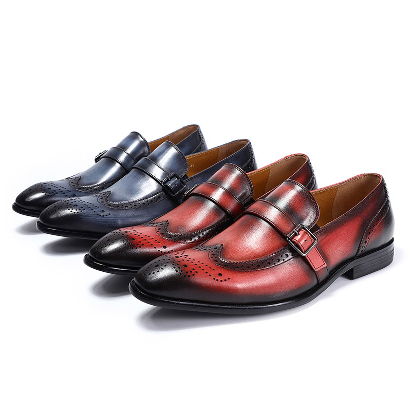 FELIX CHU marki stylowy prawdziwej skóry Slip On męskie buty ślubne buty Wingtip Brogue Party bankiet mężczyźni klamra formalne mokasyny w Buty wizytowe od Buty na  Grupa 3