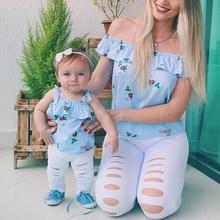 New 2pcs/set Parent-Child Set Summer Fashion Sweet Flower Pattern Tops Long Pants Concise Girls 0-24M Newborn Baby Clothes