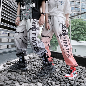 Image 3 - American Style Streetwear Hip Hop Trousers Unisex Jogger Sports Pants Youth Fashion Color Gradient Letter Harem Pants Summer