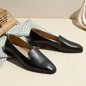 Image 5 - BeauToday Cho Nữ Nữ Da Bê Thương Hiệu Vuông Mũi Giày Slip On Nữ Đế Bằng Chất Lượng Hàng Đầu Giày Làm Bằng Tay 27089