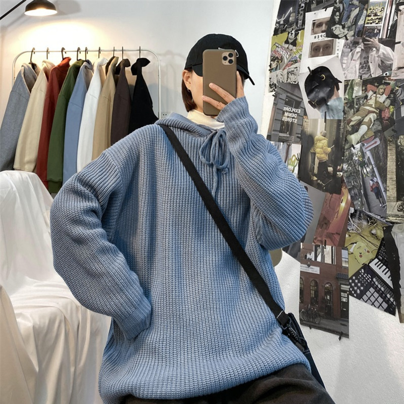 Winter Hooded Sweater Men's Warm Fashion Solid Color Casual Knit Pullover Man Wild Loose Long-sleeved Sweater Male Clothes