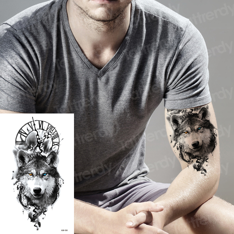 Wolf Temporary Tattoo Sticker Clock Orange Flash Tattoos Lion Compass Body Art Arm Fake Tatoo Women Men Leg Tattoo Sleeve Cool