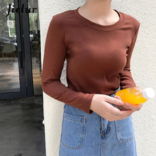 Jielur 2019 Autumn Long Sleeve Female T-shirt Solid Color Kpop Casual Hipster Womens T Shirts Basic Harajuku Chic Mujer Tee Top