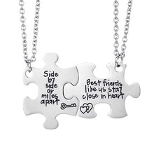 Best Friends Side By Side or Miles Apart Best Friend Necklaces Set Heart Best Friend Gifts for Teen Girls BFF Friendship Necklac(China)