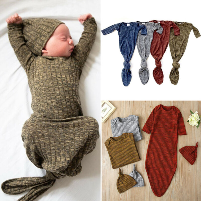 CANIS Autumn Spring Infant Baby Girl Solid Knitted Long Sleeve Striped Swaddle Wrap Blanket Sleeping Bag+Hat Set 0-1Y