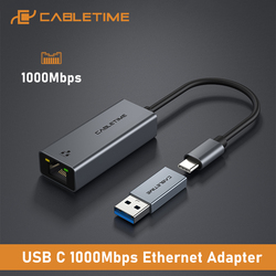 CABLETIME USB C LAN Adapter to Ethernet 1000Mbps Network for PC Dell Lenovo RJ45 Adapter USB C Network Card C361