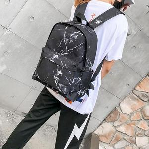 Image 3 - Women Backpack Fashion Marble Stone Print School Bag Teenager Canvas Rucksack Girls School Student Casual Travel Shoulder Bag