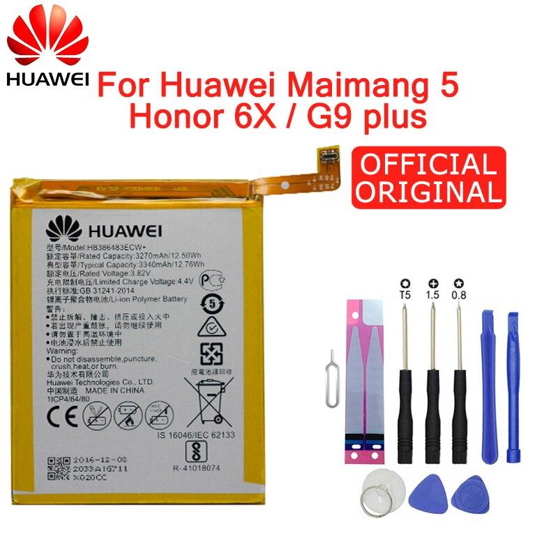 Hua Wei Original Phone Battery HB386483ECW For Huawei Honor 6X / G9 Plus / Maimang 5 / GR5 2017 3340mAh Replacement Batteries
