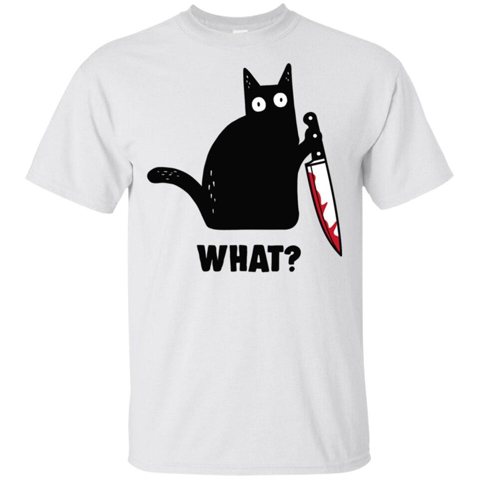 Chat des hommes quel chat noir chat meurtrier avec couteau T-Shirt taille M-3Xl nouveau T-Shirt de mode