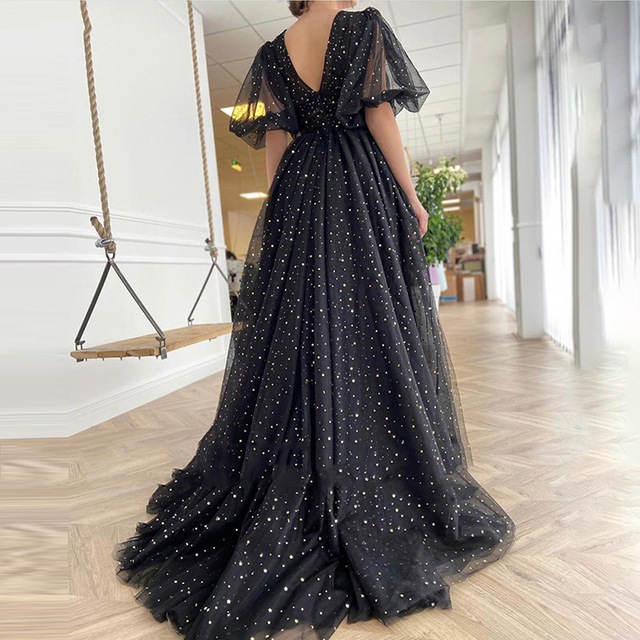 Sevintage Black Starry Tulle Prom Dresses Half Puff Sleeves Wedding Party Dresses Pleats Split Sweep Train Long Prom Gowns Belt 2
